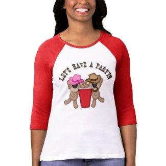 Red Cup Teddy Bear Party Raglan T-Shirt