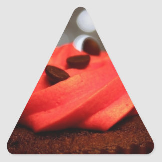 Red Cupcake Delight Triangle Sticker
