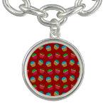 Red cupcake pattern charm bracelet