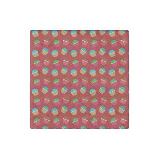 Red cupcake pattern stone magnet
