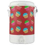 Red cupcake pattern igloo beverage cooler