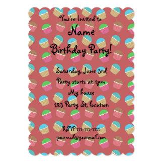 Red cupcake pattern 5x7 paper invitation card