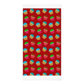Red cupcake pattern customized photo card
