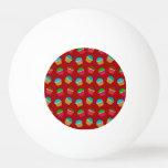 Red cupcake pattern Ping-Pong ball