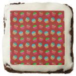 Red cupcake pattern square brownie
