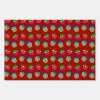 Red cupcake pattern lawn signs