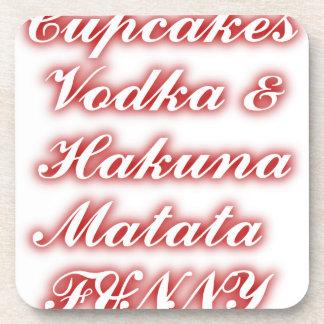 Red Cupcakes Vodka  Hakuna Matata FUNNY. Beverage Coaster