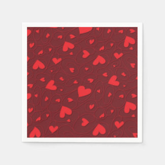 Red curly hearts paper napkin