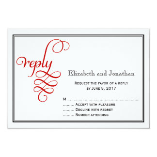 Red Curly Script Wedding Reply Card