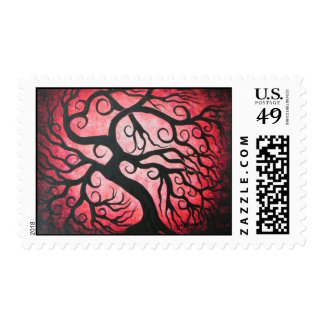 Red Curly Tree Stamp