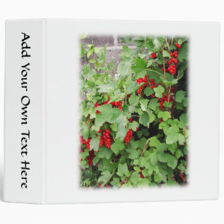 Red Currants on the Plant. Green Leaves. 3 Ring Binder