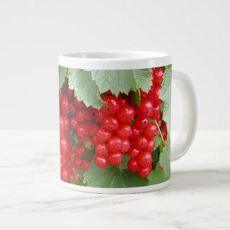 Red Currants on the Plant. Green Leaves. Giant Coffee Mug