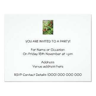 Red Currants on the Plant. Green Leaves. 4.25x5.5 Paper Invitation Card