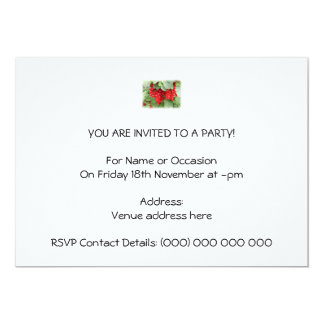Red Currants on the Plant. Green Leaves. 5x7 Paper Invitation Card
