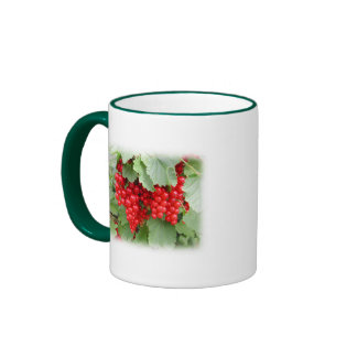 Red Currants on the Plant. Green Leaves. Ringer Coffee Mug