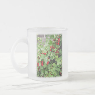 Red Currants on the Plant. Green Leaves. 10 Oz Frosted Glass Coffee Mug