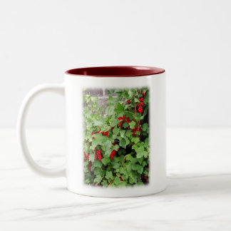 Red Currants on the Plant. Green Leaves. Two-Tone Coffee Mug