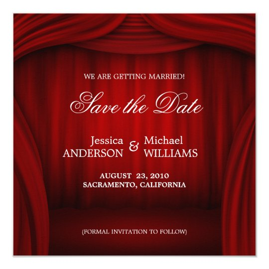 Red Curtain Save the Date announcement