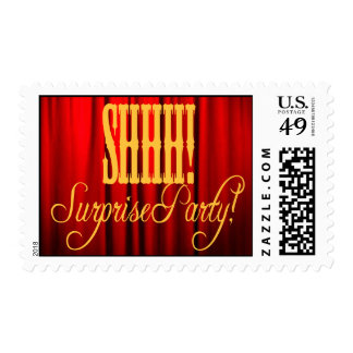 Red Curtain Surprise party stamp