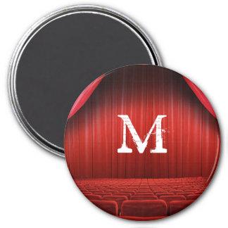 Red Curtain Theater Monogram Initial Magnet