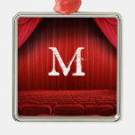 Red Curtain Theater Monogram Initial Ornament