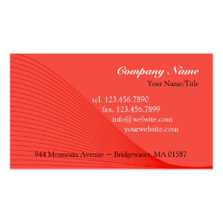 Red Curve Lines Business Card