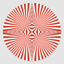 Red curved line pattern classic round sticker