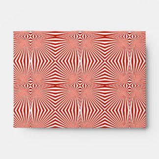 Red curved line pattern envelope