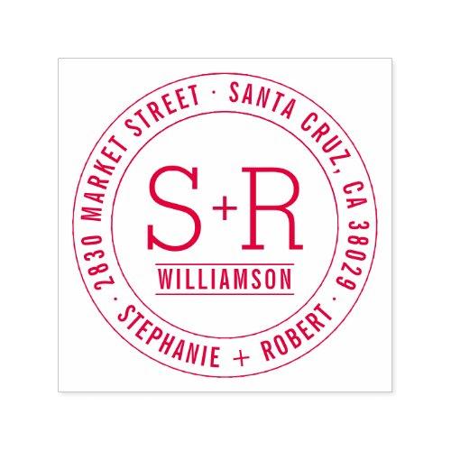 Red Custom Classic Initials Wedding Return Address Self_inking Stamp