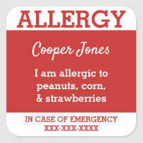 Red Custom Food Allergy Kids Contact Info Square Sticker