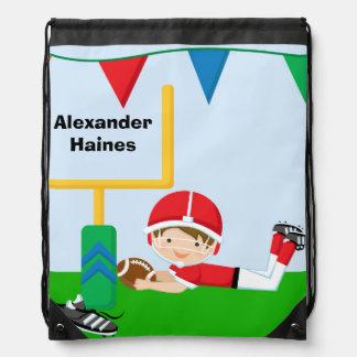Red Custom Football Player Drawstring Backpack Bag