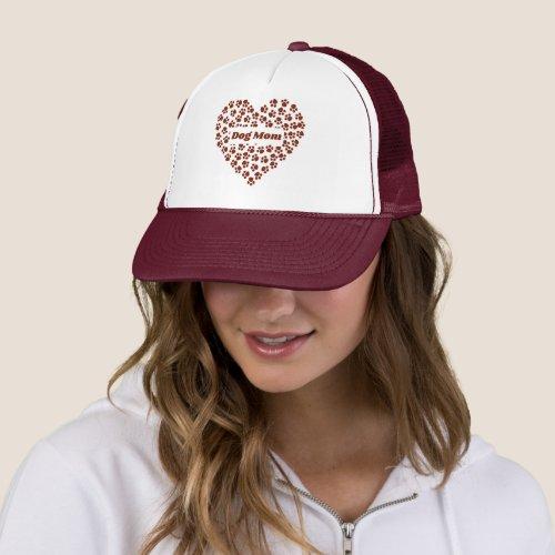 Red Custom Heart Dog Mom Trucker Hat