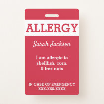 Red Custom Kids Food Allergy Alert Personalized Badge