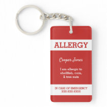 Red Custom Kids Food Allergy Alert Red Warning Keychain