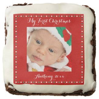 Red Custom My First Christmas Chocolate Brownies Square Brownie