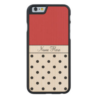 Red Custom Name, Black Polka Dots Carved® Maple iPhone 6 Case