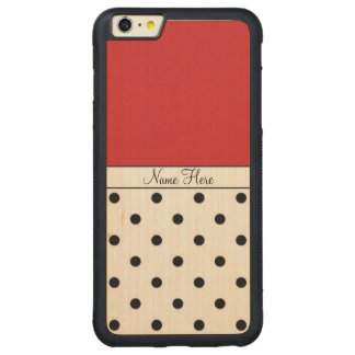 Red Custom Name, Black Polka Dots Monogram Carved® Maple iPhone 6 Plus Bumper