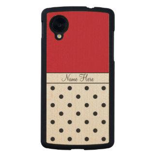 Red Custom Name, Black Polka Dots Monogram Carved® Maple Nexus 5 Slim Case