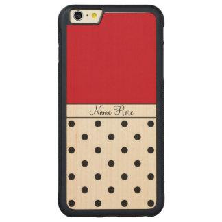 Red Custom Name, Black Polka Dots Monogram Carved® Maple iPhone 6 Plus Bumper