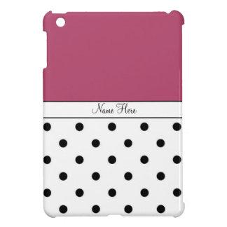 Red Custom Name, Black & White Polka Dots Case For The iPad Mini