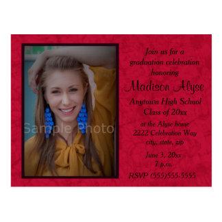 Red Custom Photo Graduation Celebration Invitation Postcard