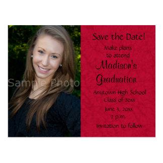 Red Custom Photo Graduation Save the Date Card