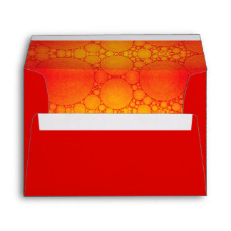 Red, custom pre-addressed orange bubble art lined envelope