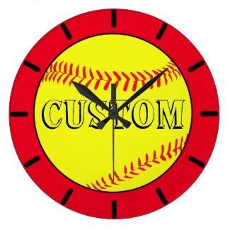 Red Custom Softball Wall Clock
