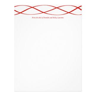Red Custom Stationery w/ Signature Heading Text Custom Letterhead