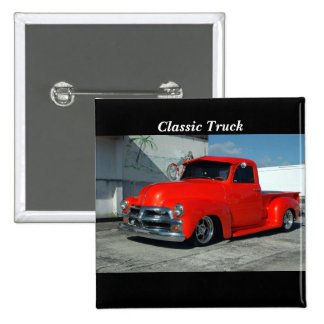 Red Customized Pickup Truck Button