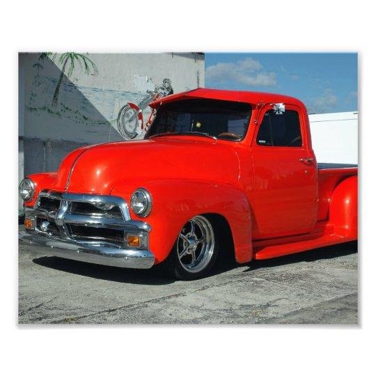 Red Customized Pickup Truck Photo Print