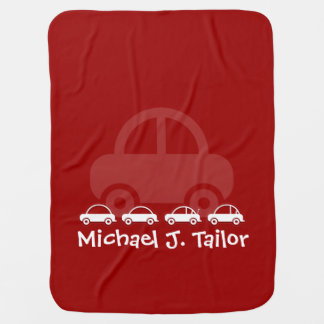 Red Cute Cars Personalized Baby Blanket