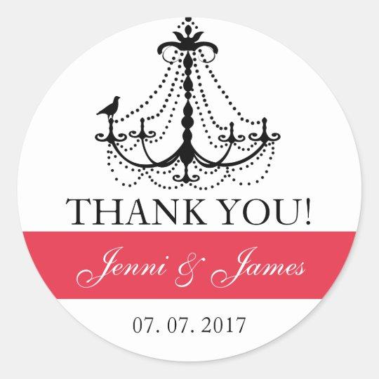 Red Cute Chandelier Wedding Favor Thank You Classic Round Sticker