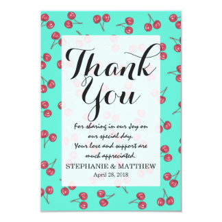 Red Cute Cherry Illustration Pattern Bright Teal Card